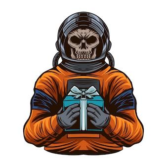 Astronauta z ilustracją czaszki głowy przynosi pudełko na białym tle