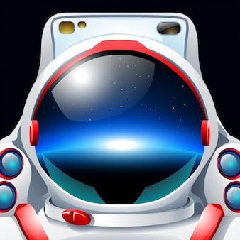 Astronauta z odbiciem planety