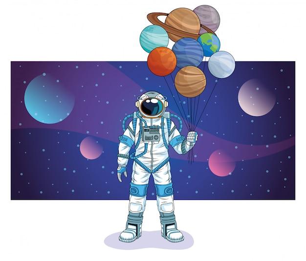 Astronauta z planetami w astronautycznej postaci ilustraci