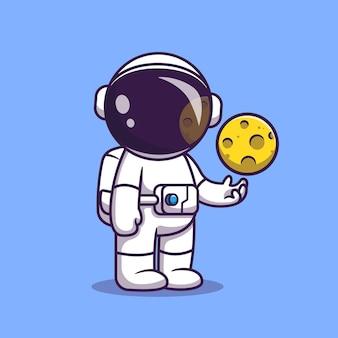 Astronauta z postacią z kreskówki kuli księżyca. science fiction na białym tle.