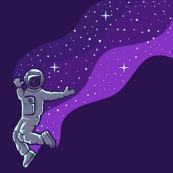 Astronauta, zabawa, piękny projekt ilustracji