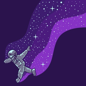 Astronauta, zabawy na białym tle na fioletowo