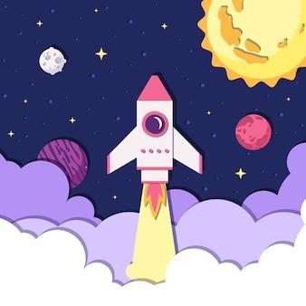 Astronautyczna ilustracja w papieru stylu z statkiem kosmicznym.