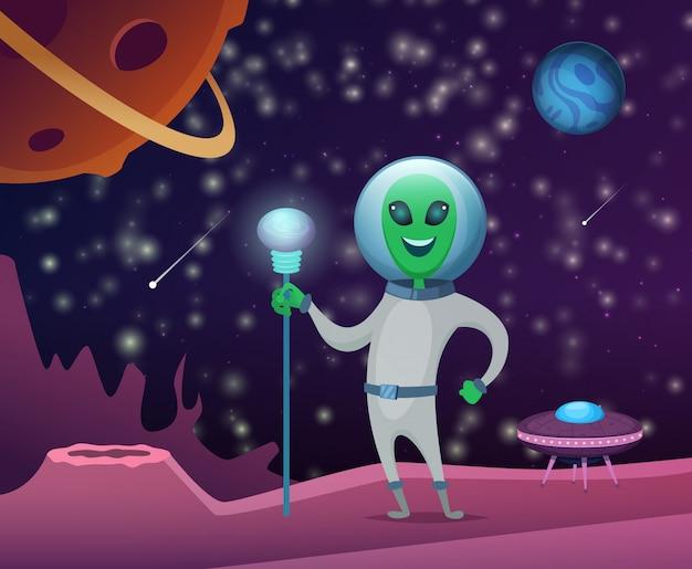 Astronautyczna ilustracja z charakterem śmieszny obcy