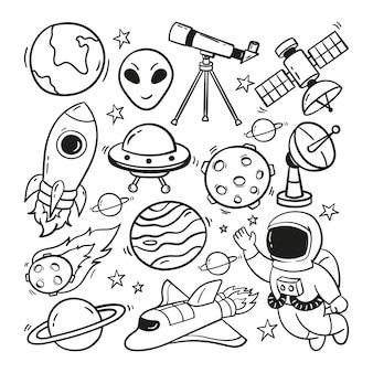 Astronautyczna ręka rysująca doodle ilustracja