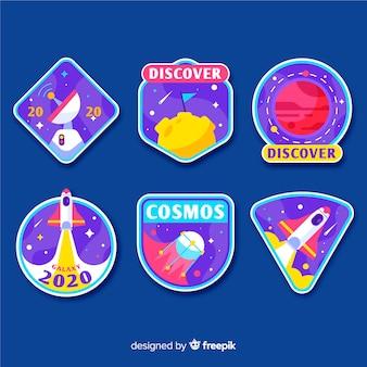 Astronautycznego majcheru inkasowy ilustracyjny projekt