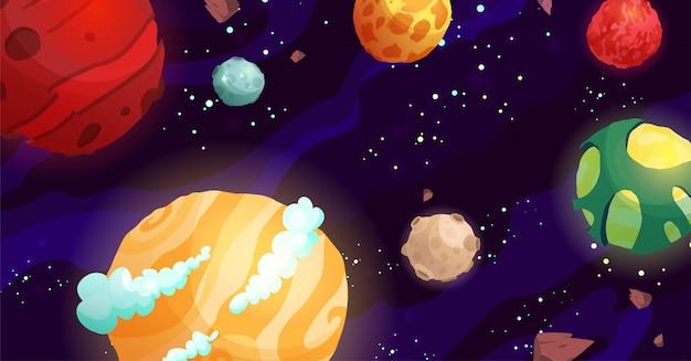 Astronautycznej kreskówki wektorowa ilustracja z różnymi planetami. galaktyka, kosmos, element wszechświata do gry komputerowej, książka dla dzieci.