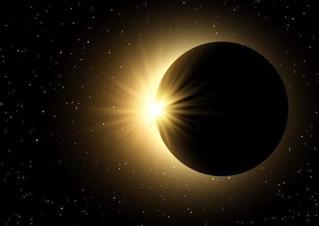 Astronautyczny nieba tło z zaćmieniem słońca