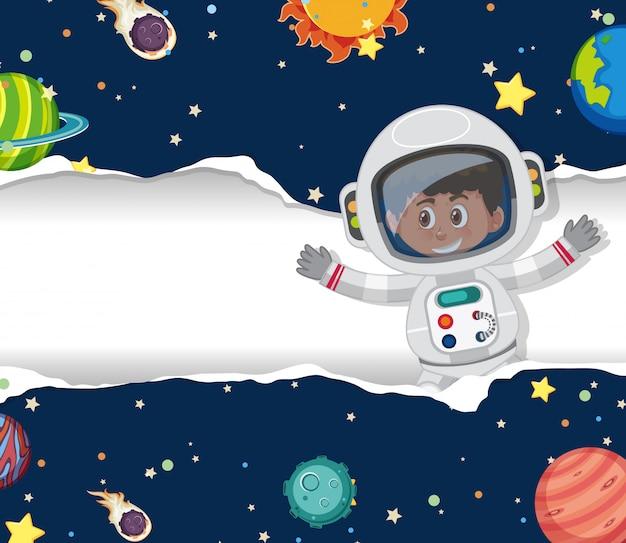 Astronautyczny tematu tło z latającym astronautą w przestrzeni