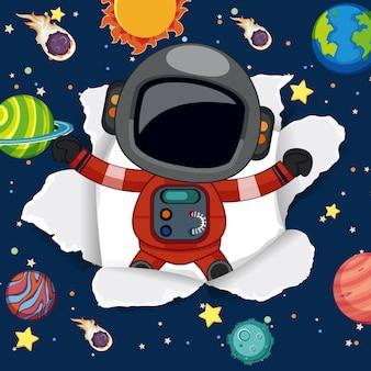 Astronautyczny tło temat z astronauta latającym w przestrzeni