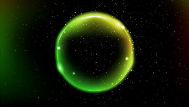 Astronautyczny tło z abstrakt zieleni planetą.
