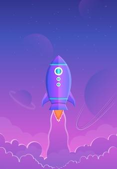 Astronautyczny tło z purpurowym gradientem