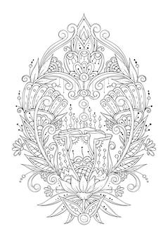 Asymetryczny ornament z abstrakcyjnymi kwiatami i liśćmi. czarno-białe kolorowanki.