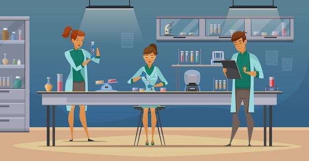 Asystenci laboratoryjni pracują w naukowych eksperymentach z medycznymi chemicznymi lub biologicznymi laboratoriami