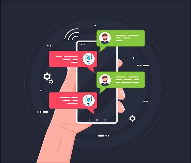 Asystent androida i automatyczny bot obsługi klienta komunikacja ze sztuczną inteligencją