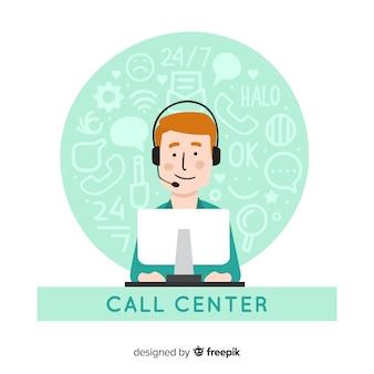 Asystent call center pomaga klientom
