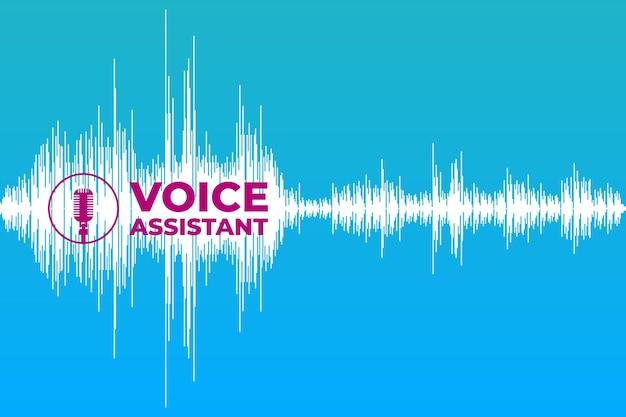 Asystent głosowy i rozpoznawanie koncepcji inteligentnych technologii vintage retro mikrofon radiowy