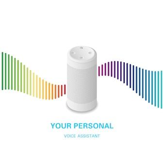 Asystent głosowy. inteligentny głośnik z falą dźwiękową tęczy na białym tle