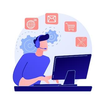 Asystent online, pomoc dla użytkownika, często zadawane pytania. postać z kreskówki pracownika call center. kobieta pracująca na infolinii.