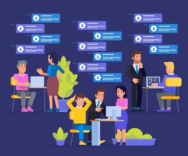 Asystent online pracujący razem w firmie