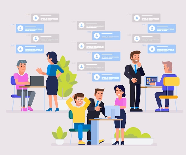 Asystent online w pracy. pracując razem w firmie. burza mózgów. promocja w sieci. manager w pracy zdalnej. poszukiwanie nowych pomysłów rozwiązań. ilustracja