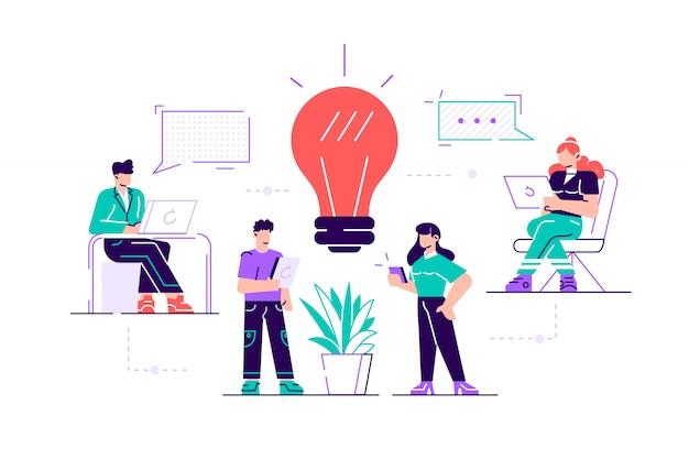 Asystent online w pracy. promocja w sieci. menedżer w pracy zdalnej, szukaniu nowych pomysłów, współpracy w firmie, burzy mózgów. ilustracja nowoczesny styl mieszkania
