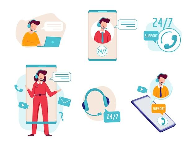 Asystent online. wirtualny czat z operatorem pomaga techniczną pomoc techniczną w zdjęciach koncepcyjnych usługi infolinii zestawu słuchawkowego. ilustracja centrum operatora, usługa wezwania online