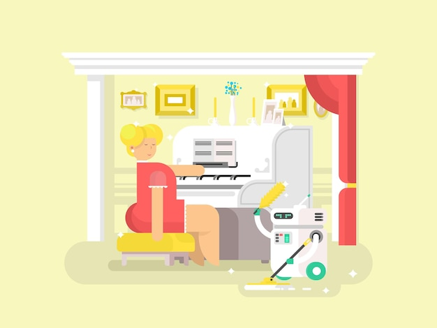 Asystent robota domowego. czystszy dom, maszyna domowa, technologia cyborg, ilustracja