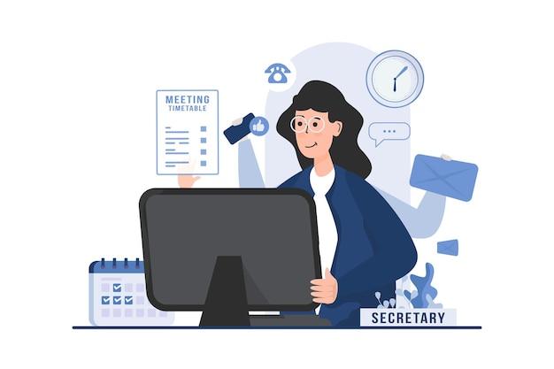 Asystent sekretarza z wielozadaniową koncepcją ilustracji