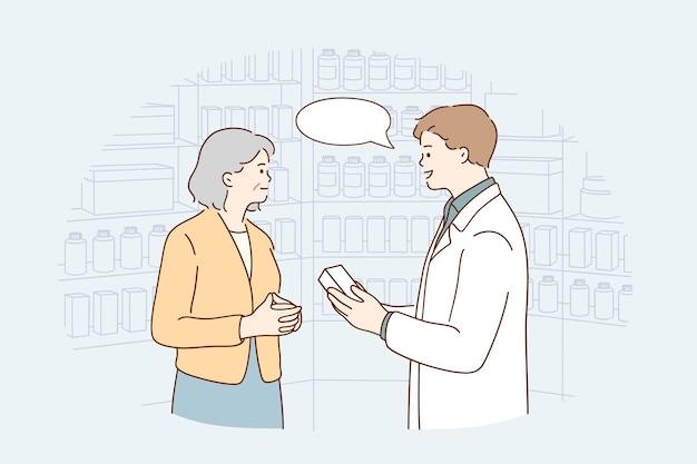 Asystent w drogerii podczas koncepcji pracy