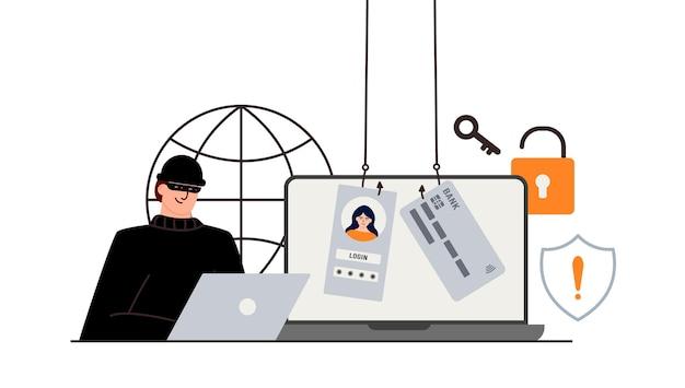 Atak hakerów. oszustwo związane z danymi użytkownika w sieciach społecznościowych. kradzież kart kredytowych lub debetowych. phishing internetowy, zhakowana nazwa użytkownika i hasło. cyberprzestępczość i przestępczość. złodziej na stronie internetowej w internecie.
