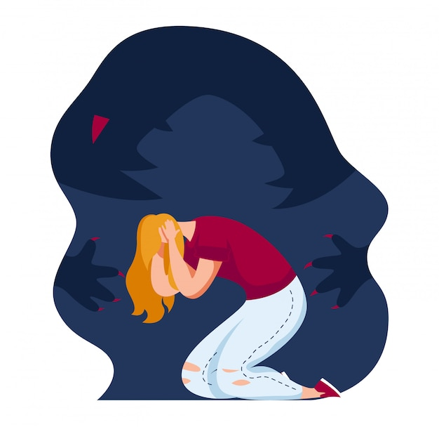 Atak paniki postaci kobiecej, dziewczyna boi się stary uraz umysłu na białym tle