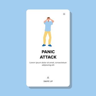 Atak paniki przygnębiony mężczyzna trzymający głowę wektor. młody chłopak ma zaburzenia paniki, wstyd facet. psychologia postaci, samotność, strach lub problemy ze zdrowiem psychicznym web ilustracja kreskówka płaskie