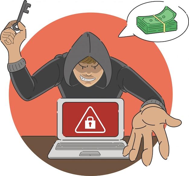 Atak ransomware oszukańcza kreskówka złośliwego oprogramowania pokazującego znak ostrzegawczy na ekranie laptopa z hakerem grożącym wypłatą pieniędzy do odblokowania