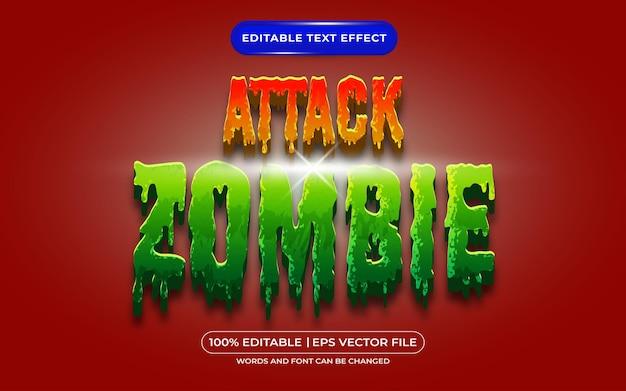 Atak zombie edytowalny efekt stylu tekstu odpowiedni dla motywu wydarzenia halloween
