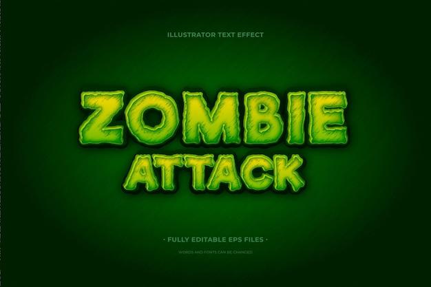Atak Zombie Z Efektem Tekstowym Premium Wektorów
