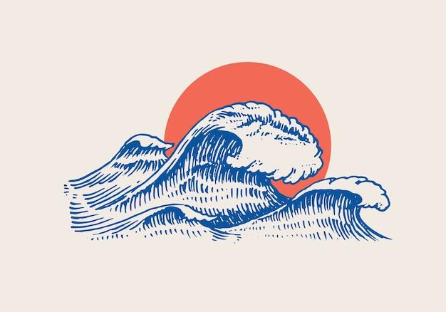 Atlantyku fale pływowe i czerwone słońce