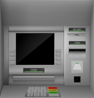 Atm, ekran, bankomat ilustrowany monitor maszyny