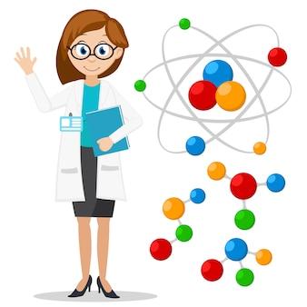Atom cząsteczkowy i kobieta naukowiec