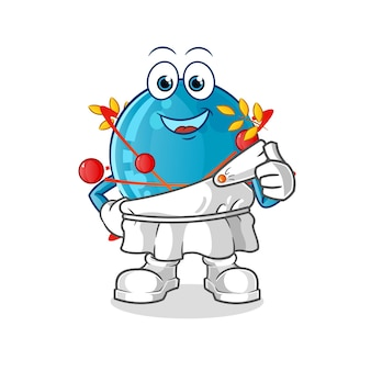 Atom z tradycyjną grecką odzieżą ilustracja kreskówka