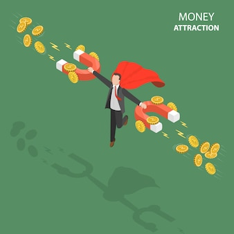 Atrakcją pieniądze płaskie izometryczny low poly wektor koncepcja.