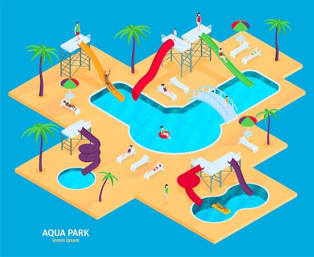 Atrakcje aquaparku otoczone wodą w rzucie izometrycznym z różnymi zjeżdżalniami, palmami i długimi krzesłami