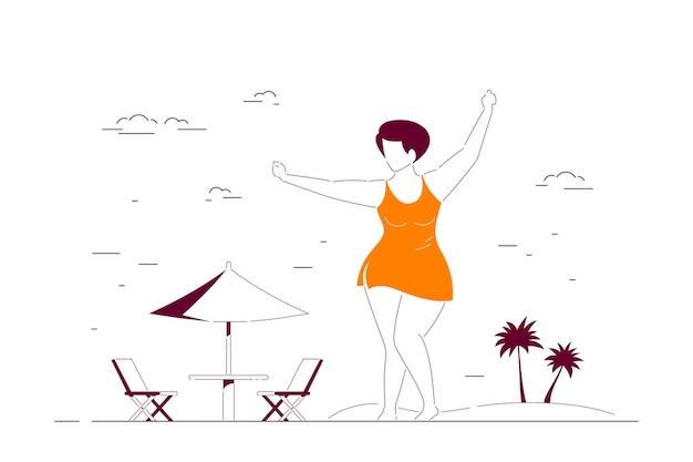 Atrakcyjna kobieta plus rozmiar w kostiumie kąpielowym tańczy na plaży. ciało pozytywne, koncepcja letniej plaży. ilustracja linia stylu płaski