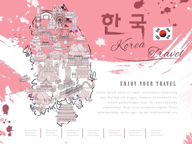Atrakcyjna mapa turystyczna korei południowej - korea w koreańskich słowach w prawym górnym rogu