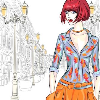 Atrakcyjna moda dziewczyna w stylu szkicu na szerokiej ulicy z latarniami w sankt petersburgu