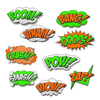Atrakcyjne kolorowe komiksowe efekty dźwiękowe ustawione na białym tle