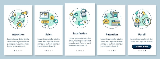 Atrakcyjność i utrzymanie klienta — ekran startowy aplikacji mobilnej z koncepcjami. wskazówki dotyczące e-commerce 5 kroków instrukcje graficzne. szablon wektorowy interfejsu użytkownika z kolorowymi ilustracjami rgb