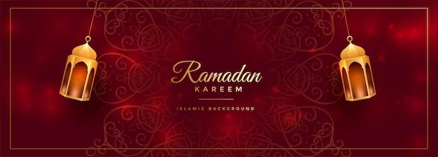 Atrakcyjny czerwony ozdobny baner ramadan kareem