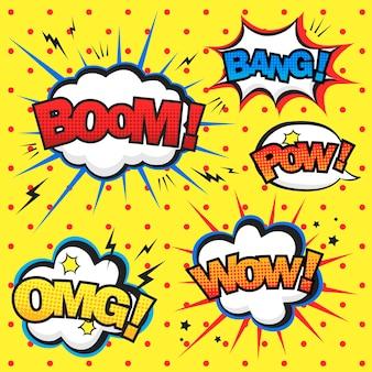 Atrakcyjny komiksowy efekt dźwiękowy na czerwonym cętkowanym żółtym tle