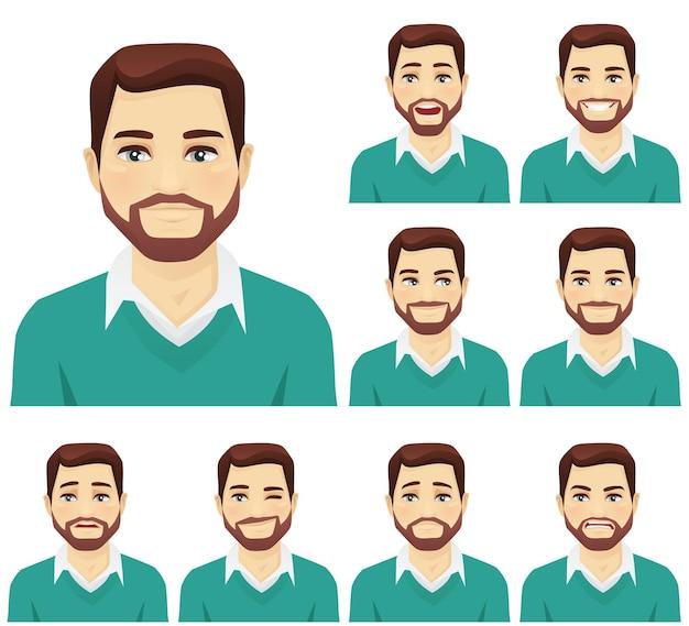 Atrakcyjny mężczyzna z brodą z różnymi wyrazami twarzy na białym tle